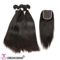 Wholesale Hand Tied Weaving Hair - Peruvian Virgin Hair Bundles With Closure Human Hair Extensions Straight Weave With Closure Density 130% Hand Tied