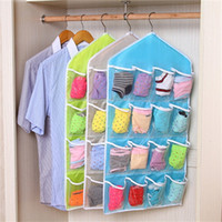 Wholesale Wall Hanging Hangers - Wholesale 16 Pockets Foldable Wardrobe Hanging Bags Socks Briefs Organizer Clothing Hanger Closet Shoes Underpants Storage Bag JC0202