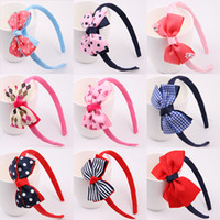 Wholesale Blue Head Pieces - New Fashion Hot children kids Baby girls Big Ribbon Bowknot Headband Headwear Hair Band Head Piece Accessories