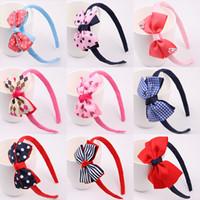 piezas de cabeza para niñas al por mayor-Nueva moda caliente niños niños niñas bebé Big Ribbon Bowknot Headband Headwear Hair Band Head Piece accesorios