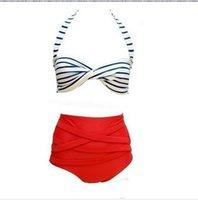 Wholesale Rockabilly Bikini - 2017 New arrival Promotional Sexy Retro Pinup Rockabilly Vintage High Waist Bikini Swimsuit Swimwear S-L