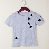 Wholesale Soft Girl Prints T Shirt - Star Print Solid Grey Boys T-Shirts Summer Short Sleeve Children Clothes 100% Cotton Soft Comfortable Baby Boy Tees Shirts 5PCS