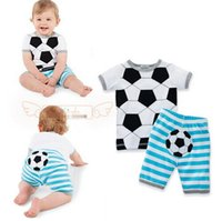Wholesale Wholesale T Shirt Football - 2016 summer baby boys girls football Pattern clothes sets t-shirts and stripes shorts Casual outfits infant clothing newborn