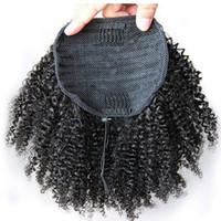 Wholesale Hairpieces For Black Women - human hair ponytail hairpieces clip in short high afro kinky curly human hair 120g drawstring ponytail hair extension for black women
