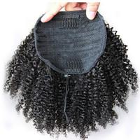 saç uzatma kabloları toptan satış-İnsan saç at kuyruğu hairpieces klip kısa yüksek afro kinky kıvırcık İnsan saç siyah kadınlar için 120g İpli at kuyruğu saç uzatma