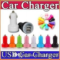 Wholesale Nipple Plug - 200X For Iphone 6 7 Plus Mini Car Charger Colorful 2 Ports Nipple Car Adapter Cigarette Plug Auto Power Adapter Opp Package M-SC