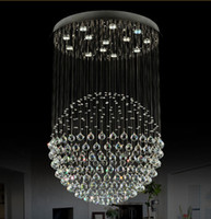 Wholesale Crystal Pendant Light Steel - Modern Staircase LED Crystal Chandeliers Lighting Fixture for Hotel Lobby Foyer Ball Shape Rain Drop Pendants