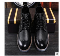 Wholesale Mens Business Boots - Brand Luxury Mens Dress Boots Genuine Leather High Quality Ankle Boots Men Shoes for Business Genuine Leather Mens Dress Shoes 8955