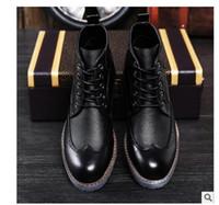 botas altas de vestir para hombre al por mayor-Marca de lujo para hombre Botas de vestir de cuero genuino Botas de tobillo de alta calidad Hombres Zapatos para hombres de negocios de cuero genuino Zapatos de vestir 8955