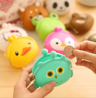 2016 New Fashion Lovely Kawaii Candy Couleur Cartoon Animal Femmes Portefeuille Femmes Multicolore Jelly Silicone Coin Bag Purse Kid Cadeau