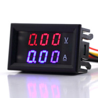 Wholesale pc Red V A Dual Display Volt Gauge Voltage Meter Digital LED Voltmeter Ammeter Panel current Amp meter Voltimetro