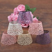 Wholesale Wholesale Filigree Supplies - 12pcs lot Laser Cut Hollow Cupcake Wrap Filigree Vine Paper Cake Wrappers Baking Tools for Wedding Birthday Party Festival Supplies