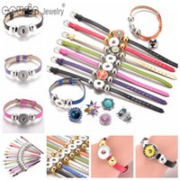 Wholesale Cheaper Silver Jewelry - New Arrivals 10pcs lot 15 cols cheaper PU Leather snap button bracelet fit 18mm button armband jewelry snap SZ0281s Free shipping Cousin JW