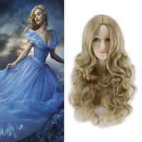 Wholesale mixed blonde wavy wig - 1pc Hot Sale Heat Resistent Synthetic Movie Princess Adult Cinderella Wig Cosplay Long Wavy Light Blonde Party Hair
