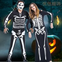 Adult Squeleton Skull Dead Day Costume d'Halloween Lovers Skull Cosplay Costume Robe à capuche à manches longues Skeleton Personnalité Faire Costume