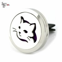 Wholesale Animal Car Magnets - 10pcs 30mm Magnet Cat style 316L Stainless Steel Diffuser Car Locket Aromatherapy Essential Oil Perfume Clip Car Locket Jewelry