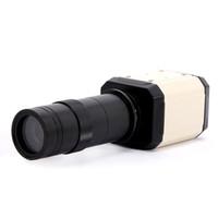 объектив микроскопа для камеры оптовых-Оптовая продажа-2.0 MP HD промышленные лаборатории микроскоп камеры VGA USB AV TV выход зум C-mount объектив