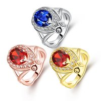 Wholesale Large Gemstone Sterling - 3 Colors New Women's Charm Love Large Deep Sapphire Gemstone 925 sterling Silver Gold ring Engagement Party
