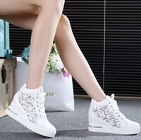 Wholesale Wedge Creepers - Wholesale-2016 Women Mesh Hollow Elevator Shoes Thick Soled Lace Shoes Woman Platform Wedges Loafers Creepers High Heels Zapatos Mujer