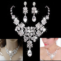 Wholesale Cheap Fashion Jewelry Rings - 2017 Women Fashion Korean Style Crystal Wedding Earrings Adjustable Pendant Necklace Bridal Jewelry Set Cheap Free Shipping