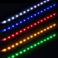 parrilla de coche de luz roja al por mayor-30cm Impermeable 15 Azul / Rojo / Amarillo / Verde / Blanco LED Vehículo Coche Parrilla Luz Flexible Tiras 12V