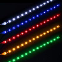 grüne led-grillleuchten großhandel-30cm imprägniern 15 blaue / rote / gelbe / grüne / weiße LED-Auto-Fahrzeug-Bewegungsgrill-flexible helle Streifen 12V