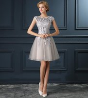 Wholesale Tulle Lace Knee Length - Real Photo Cheap Short Beach Wedding Dresses 2016 Cap Sleeves Lace Tulle Knee Length Under 100 Bridal Gowns In Stock