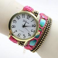 Wholesale Geneva Chain Watches - Wholesales 2016 New Style Geneva Watch Leather Bracelet Wristwatch Women Quartz Watches Long Chain Watch 7 Colors