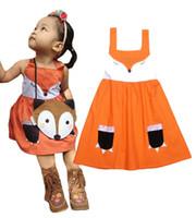 animales naranja al por mayor-2016 nuevas muchachas lindas Fox TUTU vestido sin mangas de una sola pieza de naranja vestidos de encaje 2T-8T muchachas zorro vestidos de tutú vestidos para niños vestido de animal
