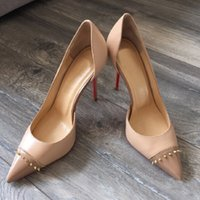 Wholesale Cheap Nude Pumps - Nude Black Wedding Shoes Red Bottom Heels Bridal Shoes 2017 Cheap Summer Women Ladies Shoes for Wedding With High Heels Rivets Sandals Pumps