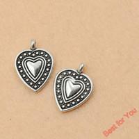 Wholesale Diy Jewery - 100pcs Tibetan Silver Tone Heart Charms Pendants Jewelry Diy Jewery Findings 19x13.7mm jewelry making