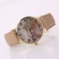 Wholesale Glass Gift Items - Hot Sale Christmas Gifts Retro World Map Watch Fashion Leather Alloy Women Casual Analog Quartz Wrist Watch items