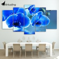 Wholesale Digital Panel Blue - HD Printed Blue orchid flowers Group Painting Canvas Print room decor print poster picture canvas Free shipping ny-094