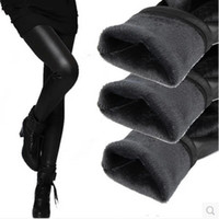 legging оптовых-Lenggings плюс размер L-XXXL зима теплый толстый бархат ПУ кожаные леггинсы сексуальный брюки-карандаш ткань с покрытием теплый мода Женская