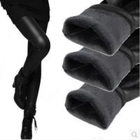 dickes samtgewebe großhandel-PLUS-GRÖSSE L-XXXL Winter-warme starke Samt-PU-Leder Legging-reizvolle Bleistift-Hosen beschichtete Gewebe-warme Art und Weise Frauen Lenggings
