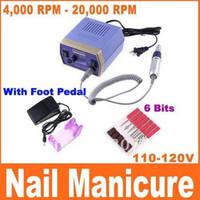 Wholesale Blue Drilling Machine - Electric Nail Manicure Set Drill Pedicure Glazing Machine 6 Bits 4000-20000 RPM 110-120V 50Hz 10W, With Foot Pedal