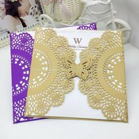 Wholesale purple wedding invitation envelopes - Laser Cut Flower Wedding Invitation Cards Personalized Hollow Wedding Party Printable Invitation Card Bow with Envelope Sealed Cheap