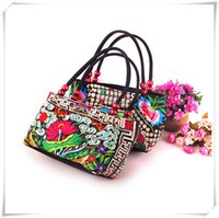 Wholesale Traditional Chinese Red Beads - 2016Hot luxury hand Yunnan folk embroidery handbag shoulder bag women bag Chinese embroidery wholesale features traditional embroidered bags