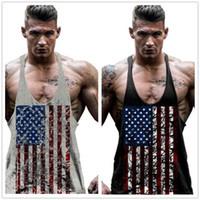 Wholesale Tank Top Gym Men Designs - Men's t-shirt American Flag Design Stringer Singlets Cotton Gyms Tank Tops Muscular Fitness Bodybuilding Tank Top Skull Vest M092