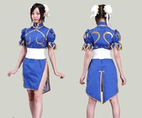 Wholesale Cheongsam Dress For Girls - 2016 Halloween Costumes for Anime Clothes Street Fighter Chun Li Cosplay Costume for Girls Fancy Dress Game Costume Cheongsam