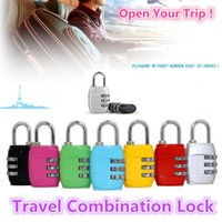 Wholesale Tsa Travel - New free shipping Customs Luggage Padlock Resettable 3 Digit Combination Padlock Suitcase Travel Lock High imitation TSA locks 0370