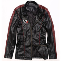 Wholesale Cosplay Leather Clothing - Fall-Game Mass Effect N7 mens leather jackets and coats Male motorcycle jacket boys clothes Coat men cosplay costume Jaqueta De Couro