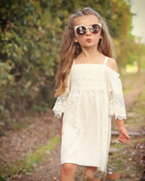 Wholesale White Cotton Embroidered Dresses - New Arrival Cute Kids Girls Lace Dress Puff Sleeve Sundress Halter Embroider Ruffles Party Dress Children Fashion Dress