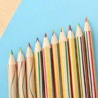 Wholesale Rainbow Pencils - 10pcs Lot Rainbow Color Pencil 4 in 1 Colored Drawing Painting Pencils school supplies