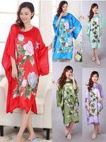 Wholesale Oriental Print Dress - Wholesale- Women's Sleepwear Robe Bat Long Pyjama Night Dress Sleep Oriental Kaftan Nightwear gown Peony Print Night Dress women's Kimono