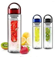 Wholesale Fruit watter bottle Lemon Juice Maker ml cap Fruit Infuser bike travel school BPA Sports clear Health cup by DHL
