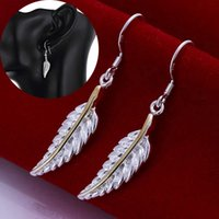Wholesale Earrings Charming Drop Golden - High Quality Feather Leaf Charms Drop Earrings 925 Sterling Silver Plated Golden Jewelry Wing Shape Pendant Hook Dangle Earring Best Gifts