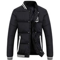 голубой зимний пиджак мужчины оптовых-Wholesale- 2016 New Arrival Fashion Cotton Winter Stand Collar Red Green Blue Black Winter Jacket Men Coat
