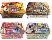 Wholesale Tin Boxes Packed - 2017 Free Ship Poke Trading Cards XY Series Collectors Tin English Edition Anime Pocket Monsters Cards Toys Metal Boxes Packing 41pcs lot
