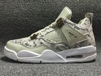 Wholesale good cheap mens shoes - 2016 air 4s Premium Snakeskin 4 GOOD top quality men basketball shoes mens sneakers sport shoes cheap sale size 8 13